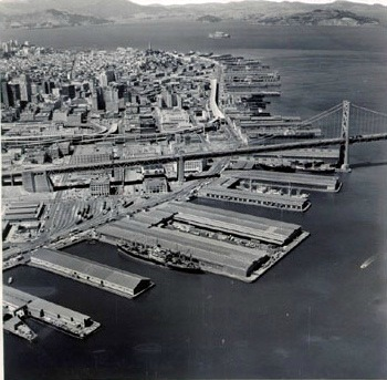 san francisco piers, aerial view, sf waterfront