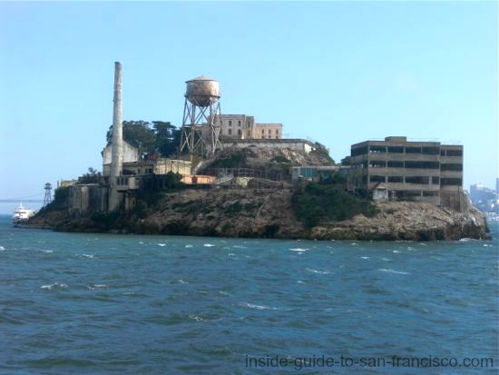 back side of alcatraz island, san francisco bay