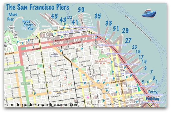 map of san francisco piers, with numbers