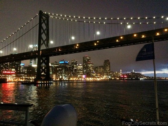 View of San Francisco and Bay Bridge from Hornblower dinner cruise