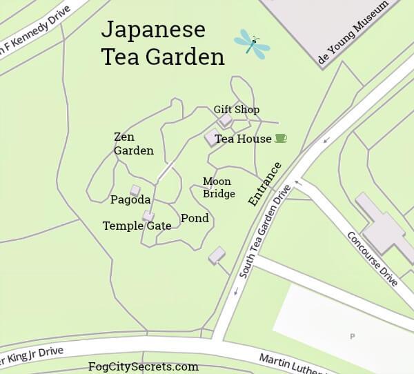 Map of Japanese Tea Garden SF