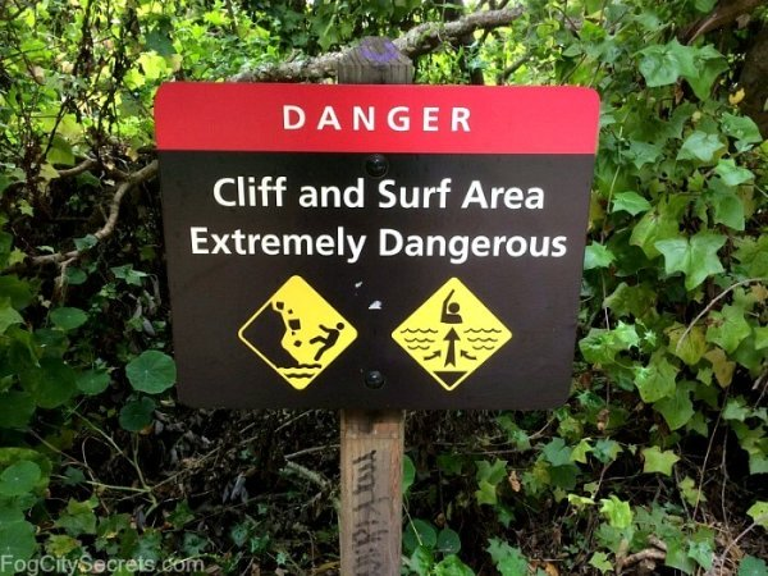 Lands End warning sign