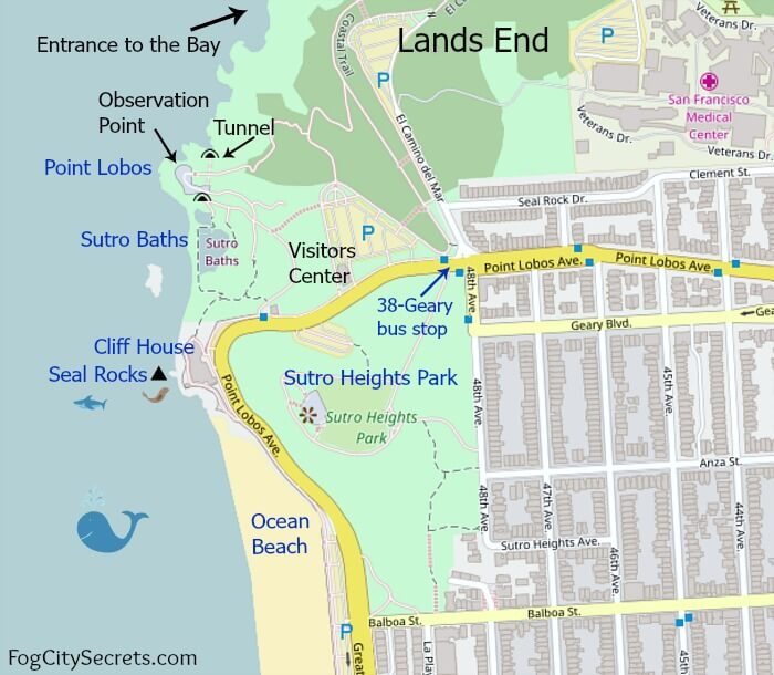 Map of Cliff House, Sutro Baths, Sutro Heights Park