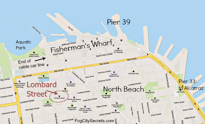 Map showing crooked part of Lombard Street and Fisherman's Wharf nearby