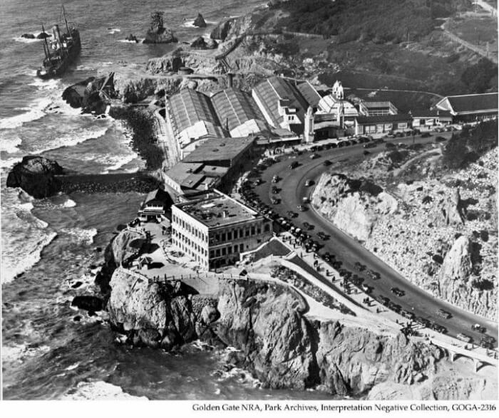 Aerial view of the Sutro Baths and Cliff House and shipwreck