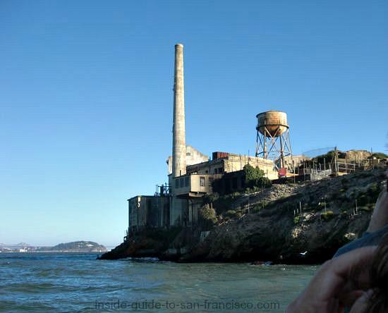 back side of alcatraz from boat