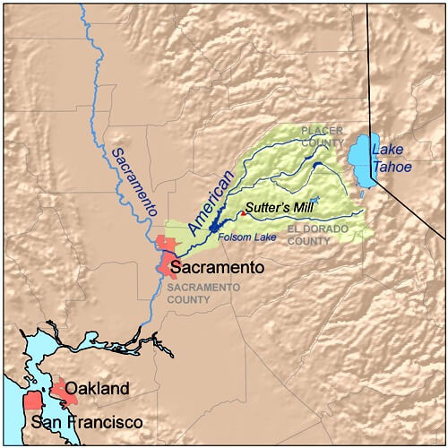 map of american river, northern california