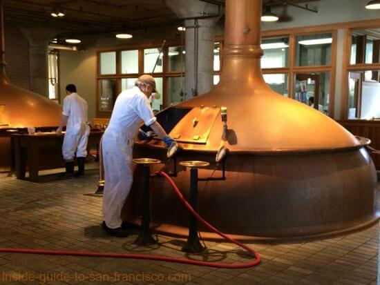 copper boiling kettles, anchor steam brewery, san francisco