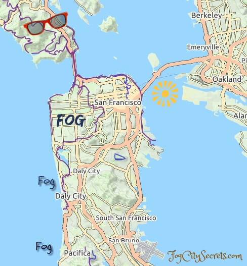 Map of fog and sun pattern in the SF Bay Area