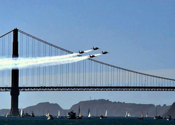 blue angels san francisco fleet week air show, golden gate bridge
