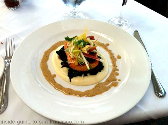 salmon and polenta at sutros restaurant, cliff house
