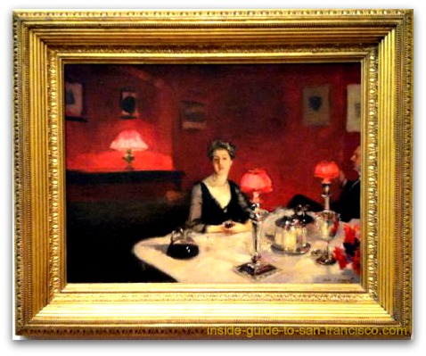 a dinner table at night, john singer sargent, de young museum san francisco