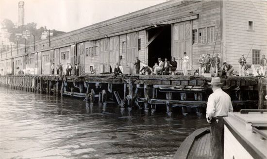 fishing from pier 23, san francisco, 1958
