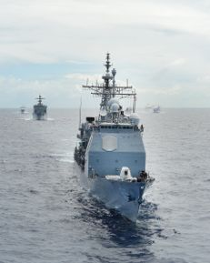 line of navy ships