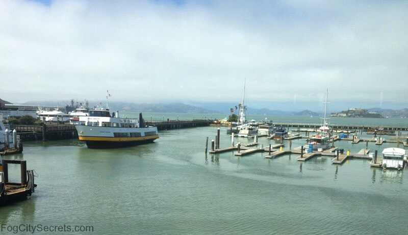 view of boats from Fog Harbor Restaurant, Pier 39