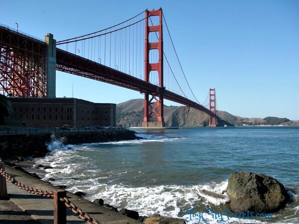 golden gate bridge and fort point view from below