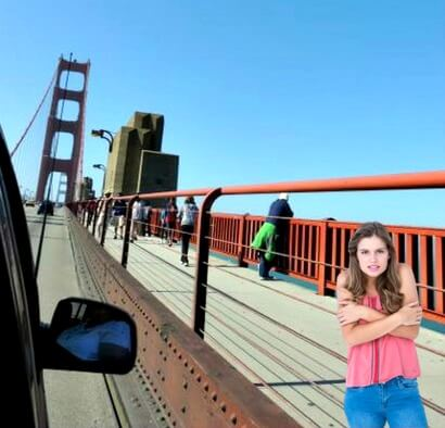 girl shivering on the golden gate bridge