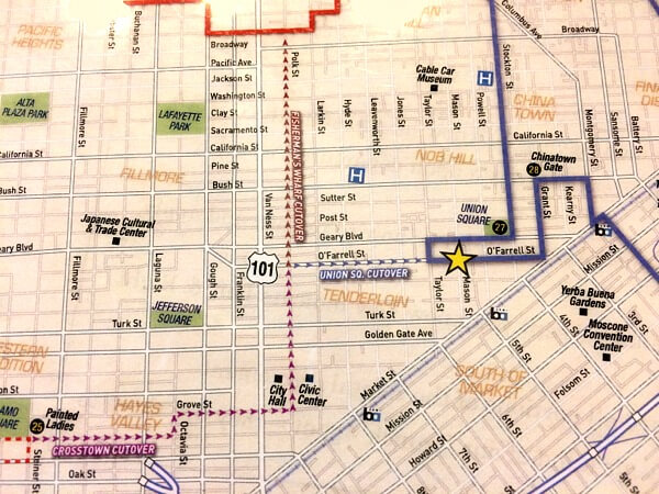 map of  crossovers between red and blue routes, go cars in san francisco