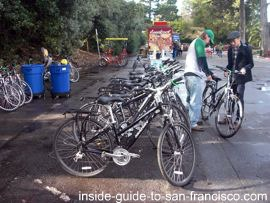 renting bicycles, golden gate park