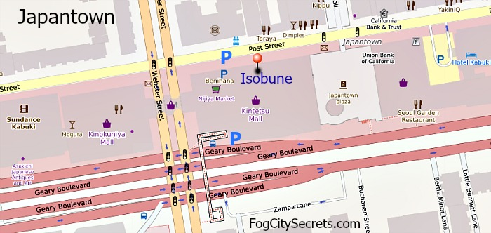 Map of Isobune Restaurant in Japantown