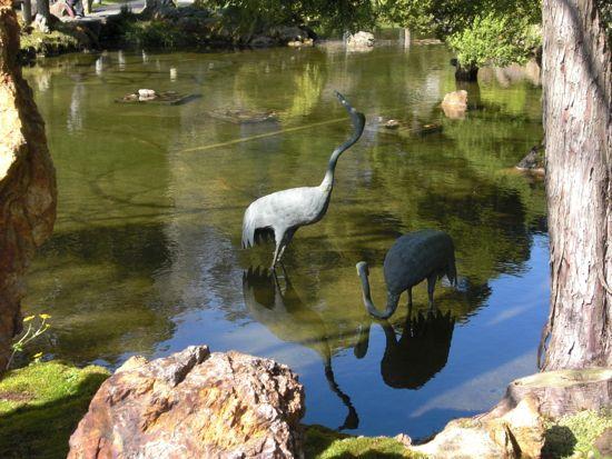 crane statues, japanese tea garden san francisco