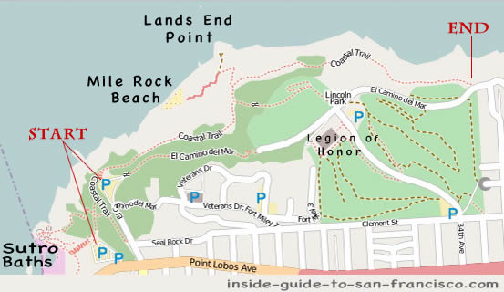 map of lands end san francisco, legion of honor