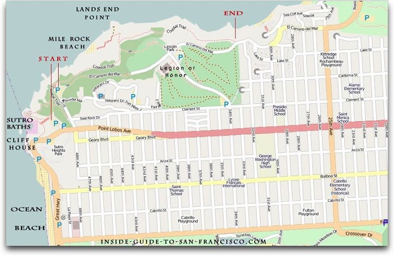 Lands End San Francisco Map Michigan Map