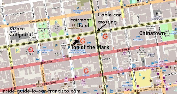map of nob hill, san francisco, top of the mark