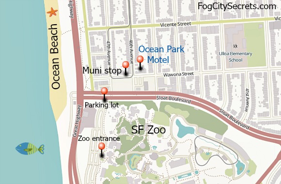 Map of Ocean Park Motel in San Francisco