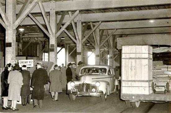 boarding a ship in 1947, pier 44, san francisco