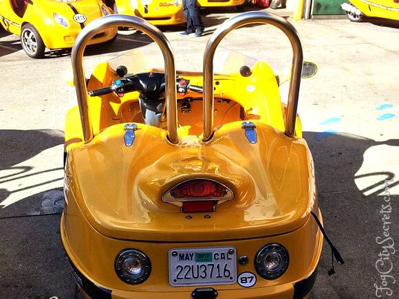 rear view of a go car, small trunk