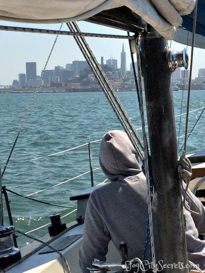 san francisco bay cruise, view of city from sailboat