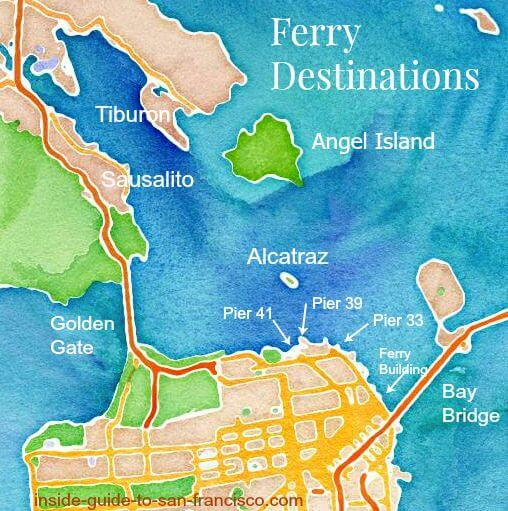 san francisco ferries map, san francisco piers map, sausalito, tiburon, angel island