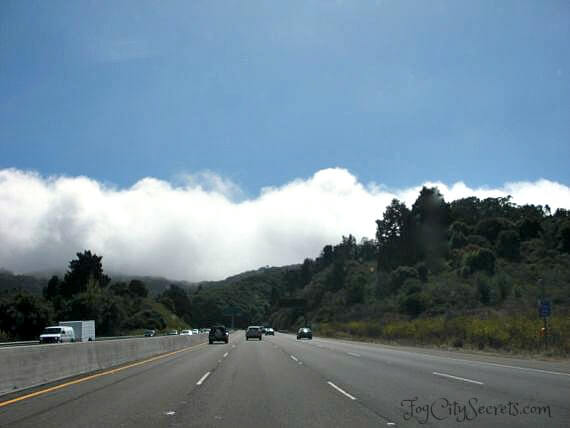 San Francisco fog coming in, Marin County view