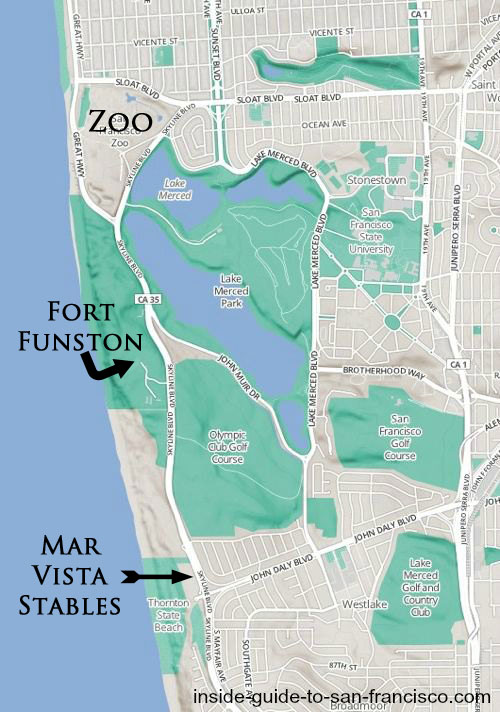 sf zoo, fort funston, mar vista stables, map