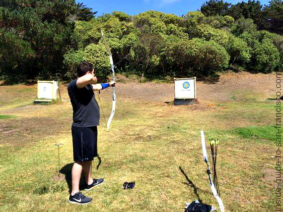 shooting arrows at sf archery range, golden gate park