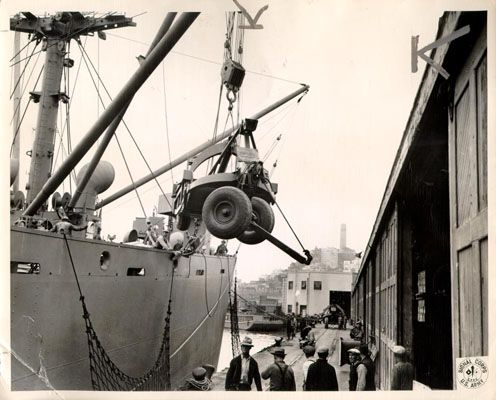 san francisco waterfront, loading military equipment, world war 2