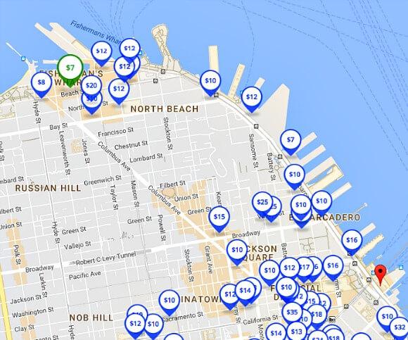 spothero.com parking app map