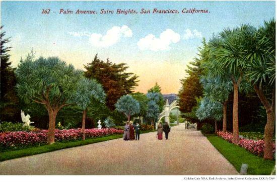 old postcard of garden promenade, sutro heights park, san francisco