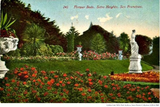 old postcard of sutro heights park, san francisco