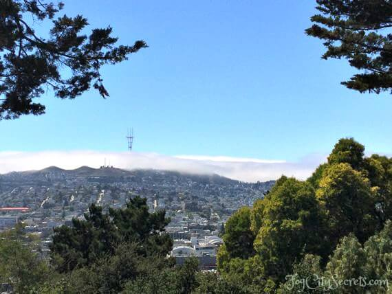view of twin peaks in fog