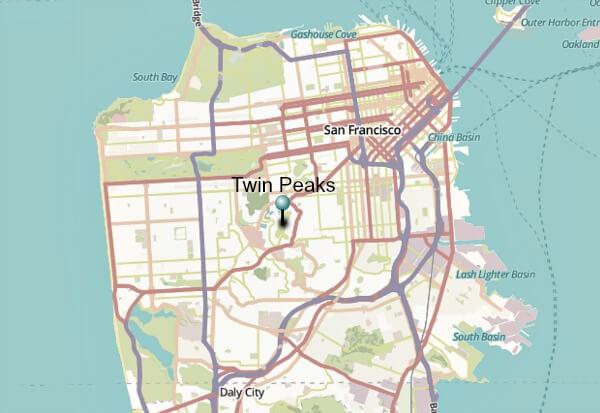 Map of Twin Peaks in San Francisco