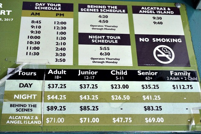 alcatraz ferry schedule and prices