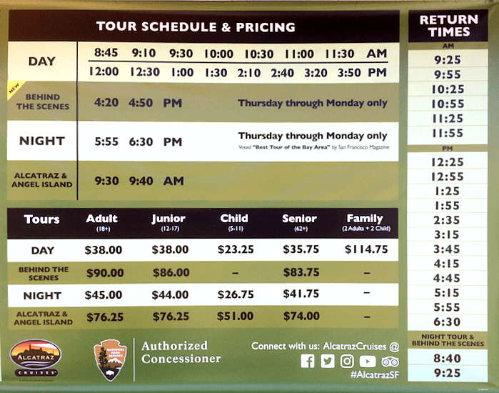 Alcatraz 2018 ferry schedule and prices