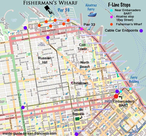 bart to pier 33 map, alcatraz, fishermans wharf