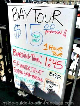 san francisco bay cruises, fishing boat sign