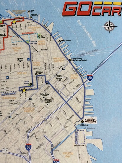 map of the blue line route on the san francisco go car tour