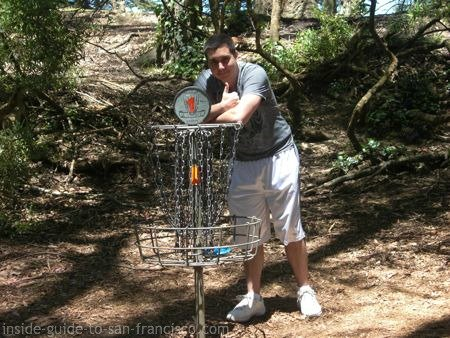 disc golf course san francisco, golden gate park, basket at first hole