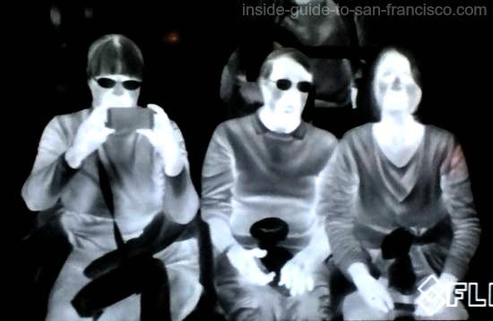 Three people displayed as heat images