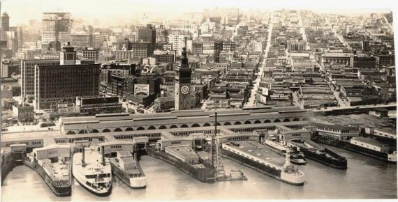 ferry building, city piers, san francisco 1930